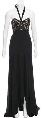 Temperley London Peacock Halter Evening Dress w/ Tags