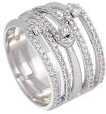 anima ISTANBOULLI GIOIELLI 18k White Gold 5-Row Diamond Ring, Size 7.5
