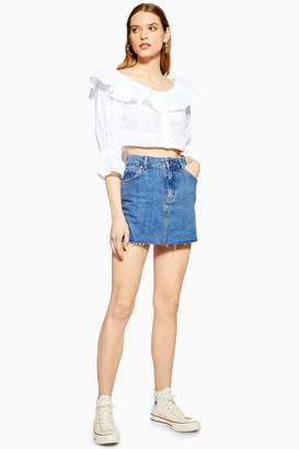 27bfe6156f Topshop Womens Petite Dark Denim Skirt - Mid Stone