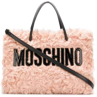 Moschino branded shearling tote