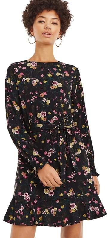 Multi Black Floral Vine Blouse Dress