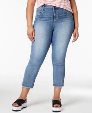 Seven7 Jeans Trendy Plus Size Raw Hem Straight-Leg Jeans