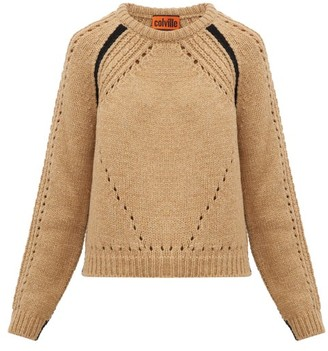Colville - Round Neck Contrast Stripe Wool Sweater - Womens - Camel