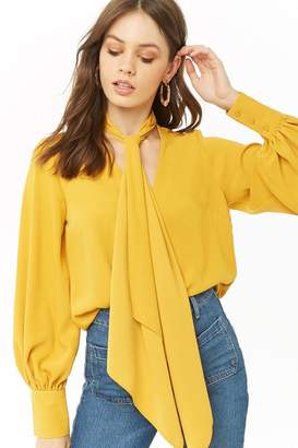 Forever 21 Pussycat Bow V-Neck Top