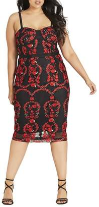 City Chic Dolce Rose Embroidered Corset Dress