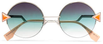 Fendi Stud-embellished Palladium-tone And Acetate Round Sunglasses - Blue