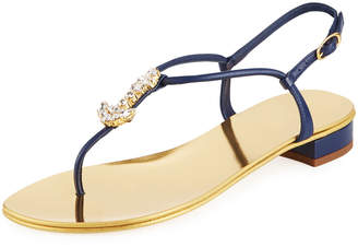 Giuseppe Zanotti Flat Metallic Sandals with Anchor Pendant