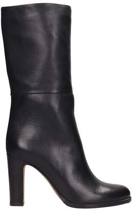Julie Dee Black Leather High Ankle Boots