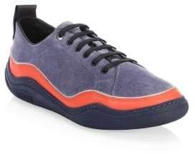 Lanvin Suede Split Low-Top Sneakers