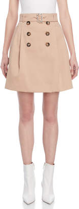 Atos Lombardini Belted Trench-Inspired A-Line Skirt