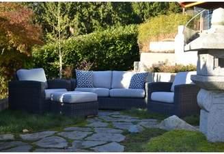 E9-Halo Peninsula Deep 4 Piece Sunbrella Sofa Seating Group with Cushions E9-Halo