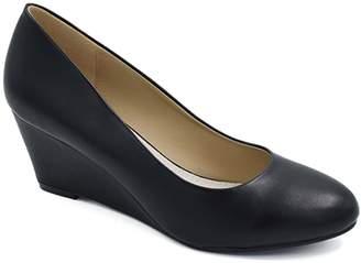 050fc81b1f4f Greatonu Women s Elegant Close Toe Faux Suede Wedges Pumps Shoes Size 5