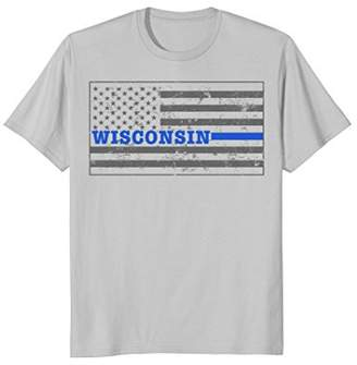 Wisconsin Police Shirt Thin Blue Line Flag Shirt