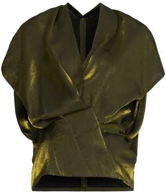 Poiret Short-sleeve drape velvet top