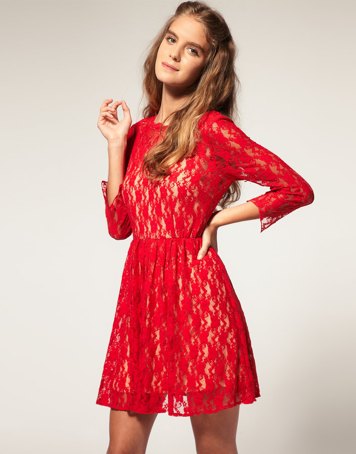 ASOS Lace Dress with Appliqué Neck