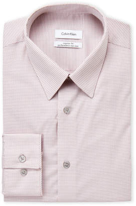 Calvin Klein Orange Gingham Performance Non-Iron Regular Fit Dress Shirt