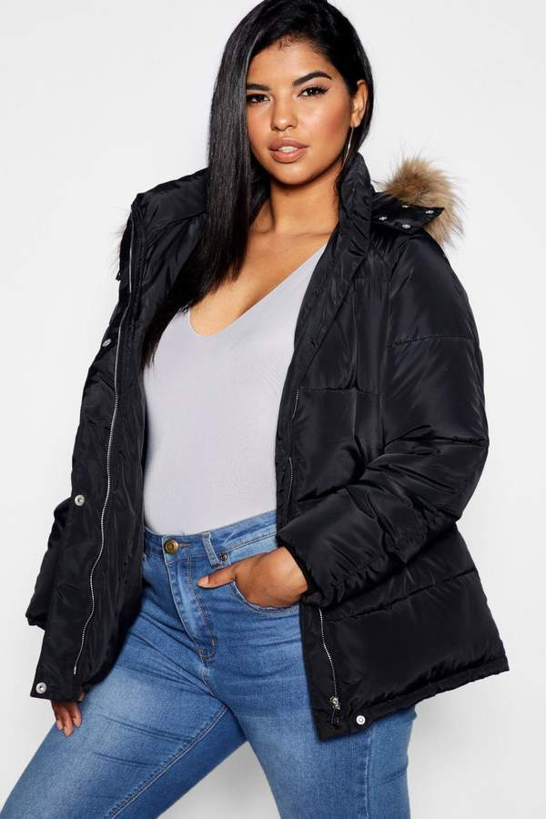 Plus Drawstring Puffer Jacket