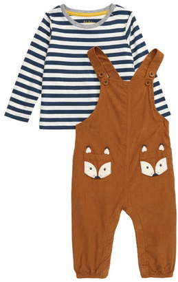 Boden Mini Stripe T-Shirt & Corduroy Overalls Set