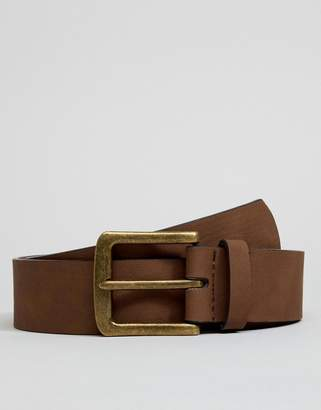 Asos DESIGN vegan wide belt in brown faux leather with vintage gold buckle