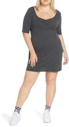 BP x Claudia Sulewski Shirred Front Ribbed Minidress