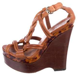 Gucci Leather Platform Wedges