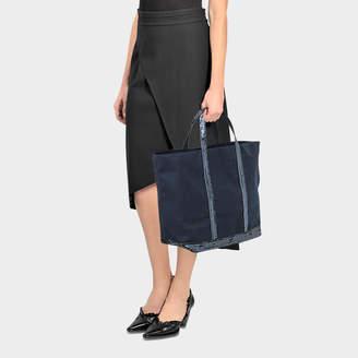 Vanessa Bruno Sequins and Canvas Medium + Tote Bag in Pyrite Cotton