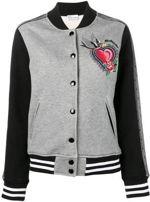 RED Valentino embroidered heart motif bomber jacket