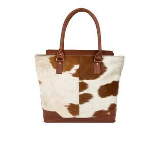 Mahi Leather Pony Hair Leather Florence Tote In Brown & White