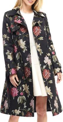 Gal Meets Glam Dominique Floral Jacquard Trench Coat