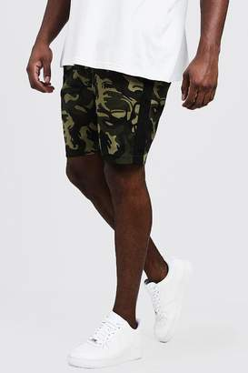 Big & Tall Camo Shorts With Side Tape