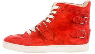 Christian Louboutin Suede High-Top Sneakers