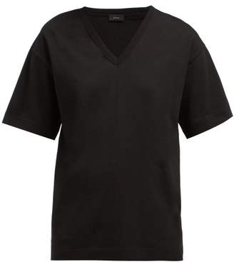 Joseph Perfect V Neck Cotton T Shirt - Womens - Black