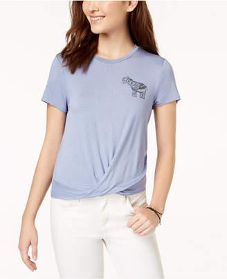 Pretty Rebellious Juniors' Elephant Knot-Front Graphic T-Shirt
