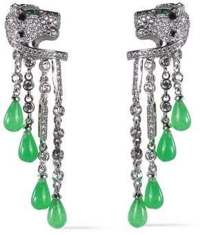Kenneth Jay Lane Cz By Silver-Tone Resin And Crystal Earrings