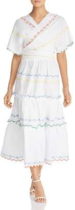 Tory Burch Embroidered Wrap Dress