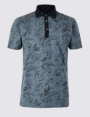 Marks and Spencer Slim Fit Pure Cotton Floral Print Polo Shirt