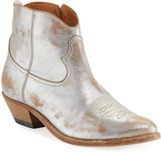 Golden Goose Young Metallic Leather Western Ankle Boot