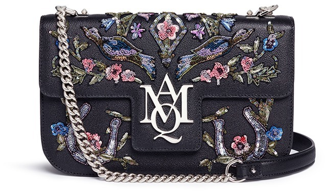 Alexander McQueen Alexander McQueen 'Insignia' floral and bird embellished leather satchel