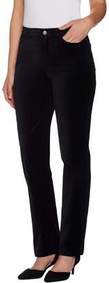Isaac Mizrahi Live! Petite Velvet 5-Pocket Straight Leg Pants
