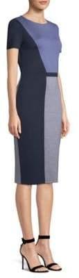 St. John Geometric Colorblock Knit Sheath Dress
