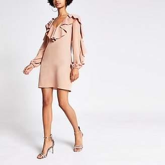 River Island Light pink ruffle swing dress
