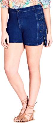 City Chic Lace-Up Denim Shorts