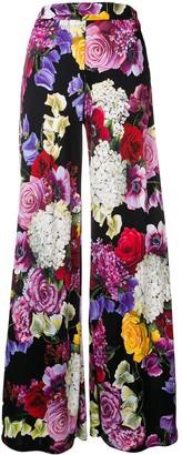 Dolce & Gabbana floral print wide leg trousers