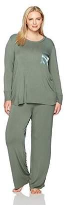 Arabella Women's Plus Size Long-Sleeve Jersey Pajamas with Satin Pocket
