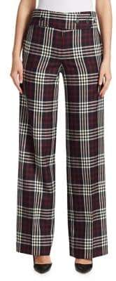 Victoria Beckham Martingale Plaid Wool Trousers