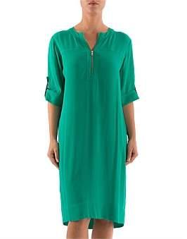Ping Pong Short Sleeve Zip Front Dress