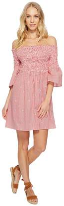 J.o.a. Smocked Off the Shoulder Dress with Bell Sleeves Women's Dress