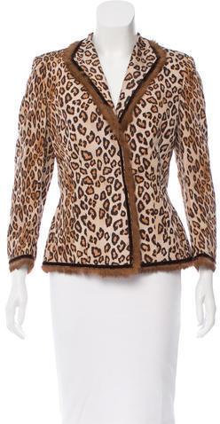 Alexander McQueenAlexander McQueen Leopard Print Fur-Trimmed Blazer