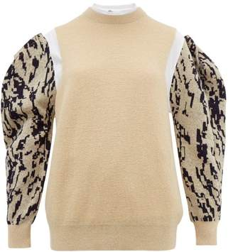 Toga Puff Sleeve Jacquard Mohair Blend Sweater - Womens - Cream Multi
