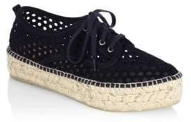 Loeffler Randall Alfie Perforated Suede Platform Espadrille Sneakers